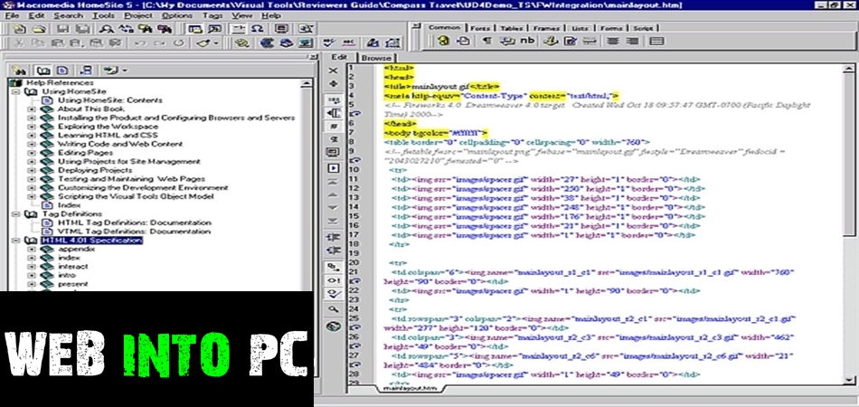 Allaire HomeSite Edit the HTML-get into pc