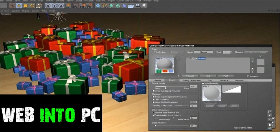 Carbon Scatter Plugin for 3ds Max Cinema4D Maya-getintopc